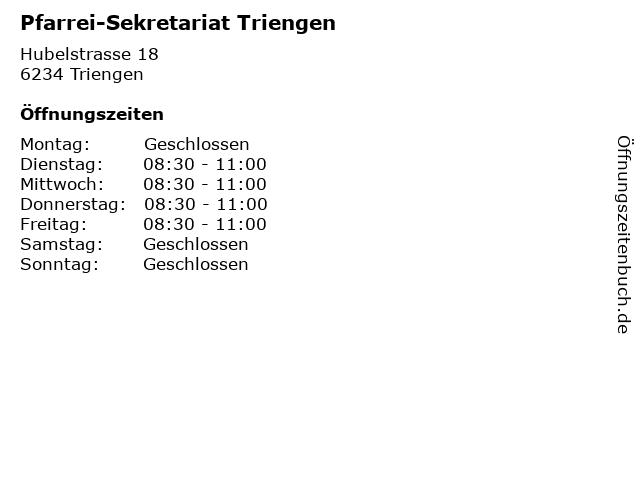 Pfarrei-Sekretariat Triengen in Triengen: Adresse und Öffnungszeiten