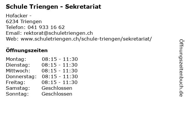 Schule Triengen - Sekretariat in Triengen: Adresse und Öffnungszeiten