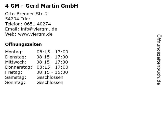 4 GM - Gerd Martin GmbH in Trier: Adresse und Öffnungszeiten