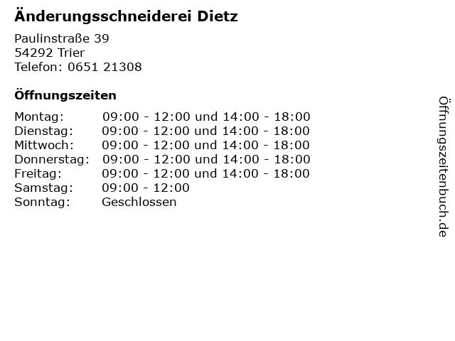 Änderungsschneiderei Dietz in Trier: Adresse und Öffnungszeiten