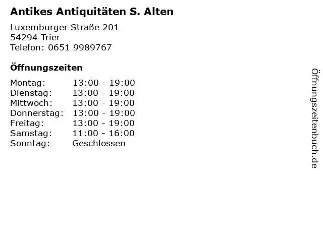 Antikes Antiquitäten S. Alten in Trier: Adresse und Öffnungszeiten