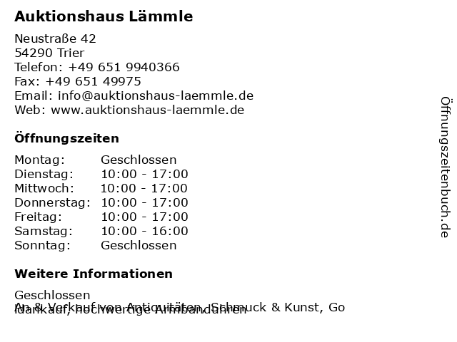 Auktionshaus Lämmle in Trier: Adresse und Öffnungszeiten
