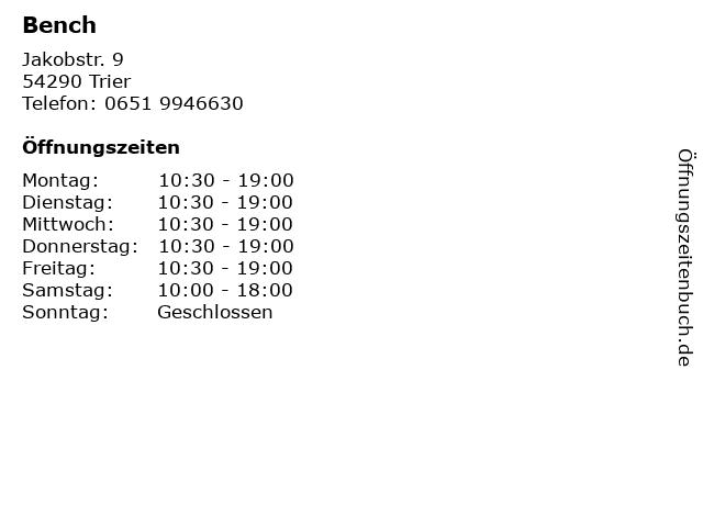 Bench in Trier: Adresse und Öffnungszeiten