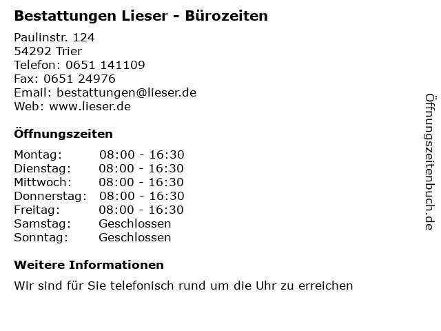 Bestattungen Lieser - Bürozeiten in Trier: Adresse und Öffnungszeiten
