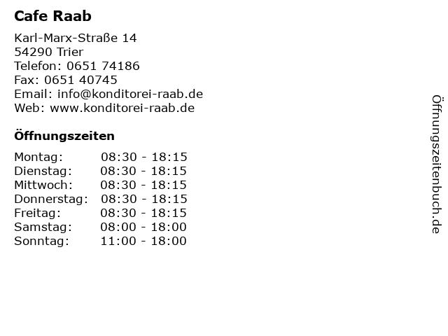 Cafe Raab in Trier: Adresse und Öffnungszeiten