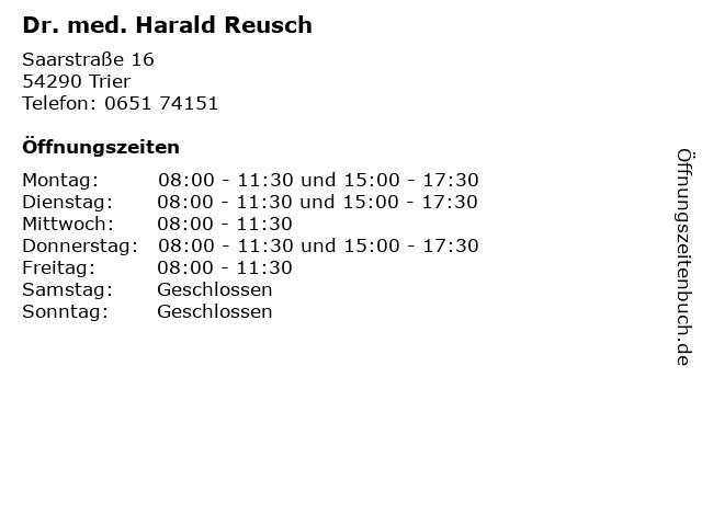Dr. med. Harald Reusch in Trier: Adresse und Öffnungszeiten
