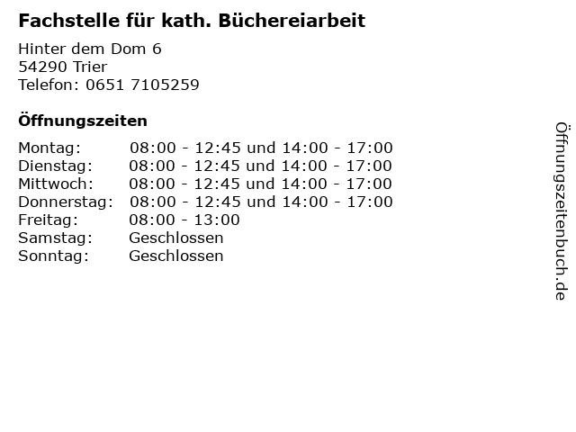 Fachstelle für kath. Büchereiarbeit in Trier: Adresse und Öffnungszeiten