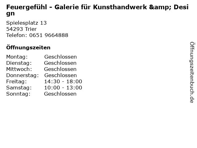 Feuergefühl - Galerie für Kunsthandwerk & Design in Trier: Adresse und Öffnungszeiten