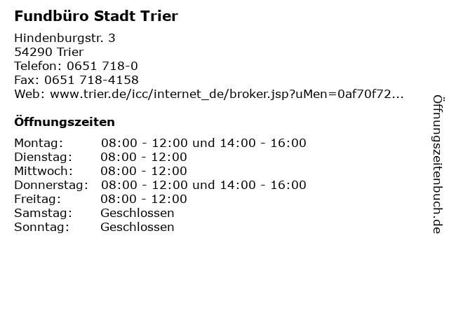 Fundbüro Stadt Trier in Trier: Adresse und Öffnungszeiten