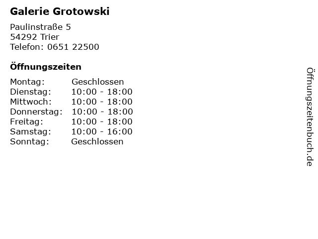 Galerie Grotowski in Trier: Adresse und Öffnungszeiten