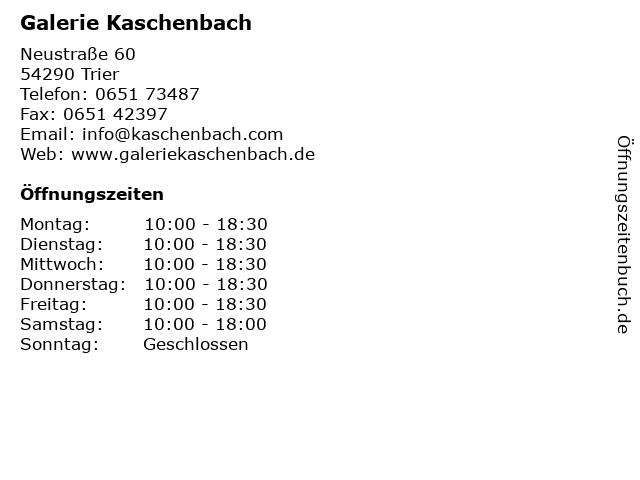 Galerie Kaschenbach in Trier: Adresse und Öffnungszeiten