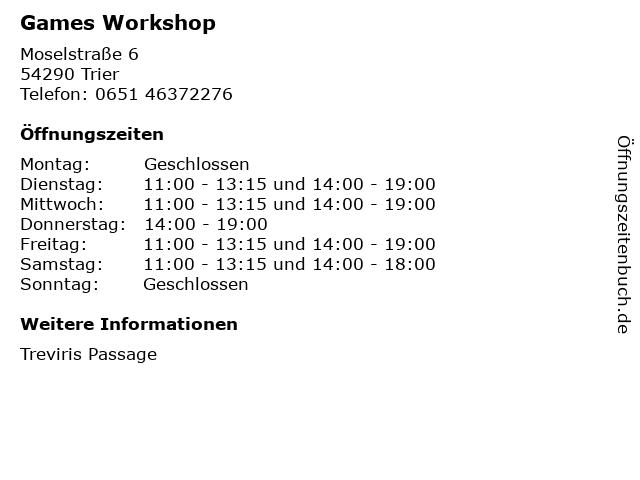 Games Workshop in Trier: Adresse und Öffnungszeiten