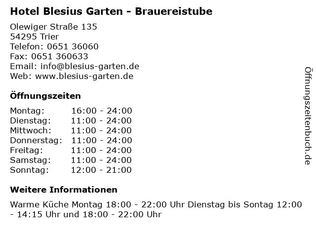 ᐅ Offnungszeiten Hotel Blesius Garten Brauereistube Olewiger Strasse 135 In Trier