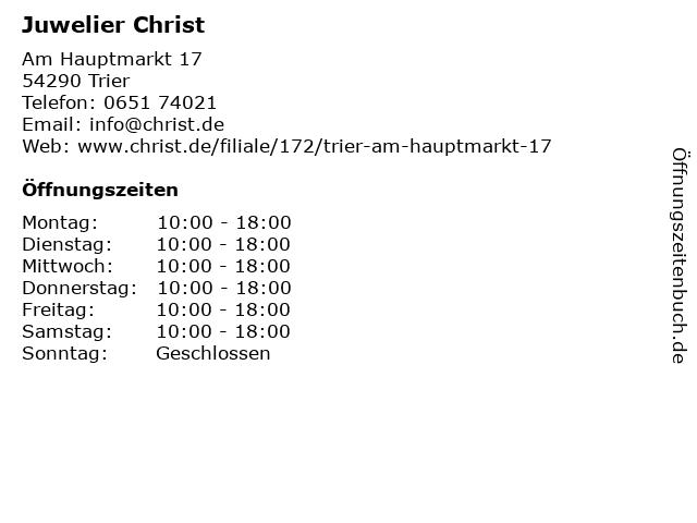 Juwelier Christ in Trier: Adresse und Öffnungszeiten