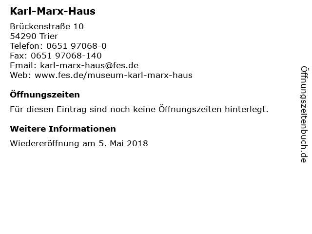 ᐅ Offnungszeiten Karl Marx Haus Bruckenstrasse 10 In Trier