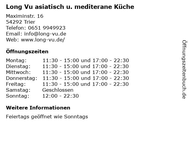 Long Vu asiatisch u. mediterane Küche in Trier: Adresse und Öffnungszeiten