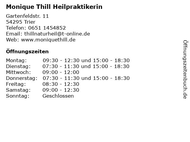 Monique Thill Heilpraktikerin in Trier: Adresse und Öffnungszeiten