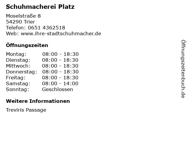 Schuhmacherei Platz in Trier: Adresse und Öffnungszeiten