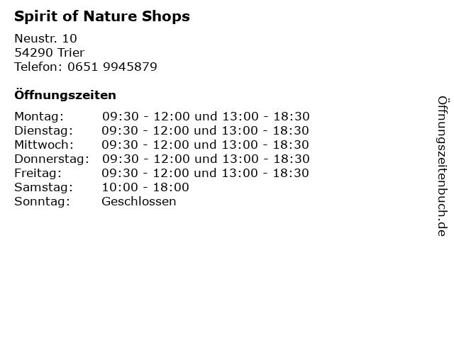 Spirit of Nature Shops in Trier: Adresse und Öffnungszeiten