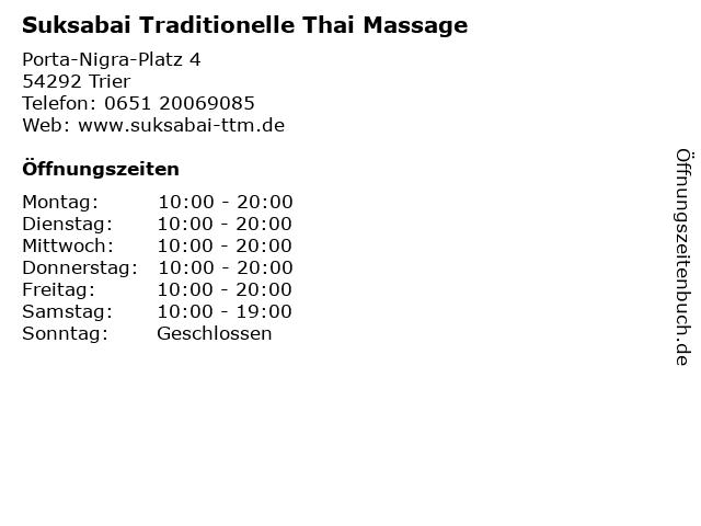 Suksabai Traditionelle Thai Massage in Trier: Adresse und Öffnungszeiten