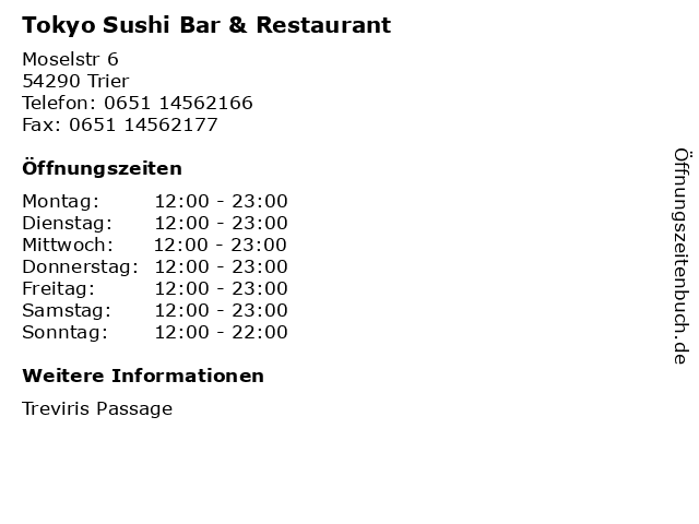 Tokyo Sushi Bar & Restaurant in Trier: Adresse und Öffnungszeiten