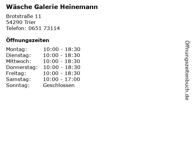 Wäsche Galerie Heinemann in Trier: Adresse und Öffnungszeiten