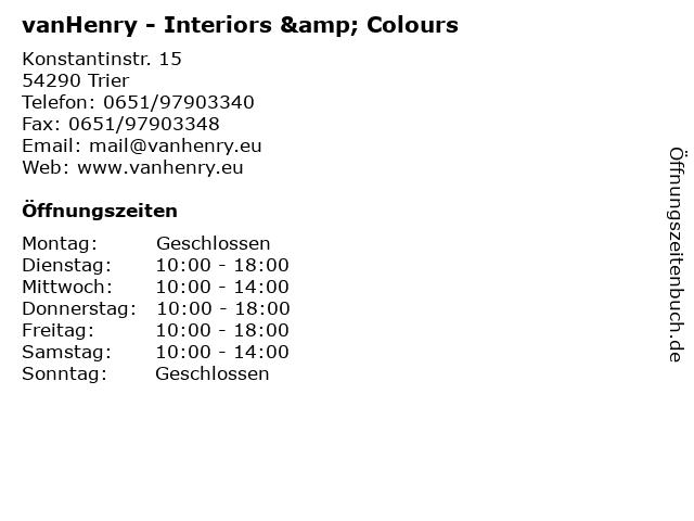 vanHenry - Interiors & Colours in Trier: Adresse und Öffnungszeiten