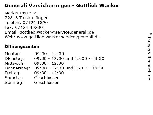 ᐅ Offnungszeiten Generali Versicherungen Gottlieb Wacker