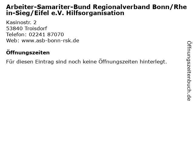 Arbeiter-Samariter-Bund Regionalverband Bonn/Rhein-Sieg/Eifel e.V. Hilfsorganisation in Troisdorf: Adresse und Öffnungszeiten