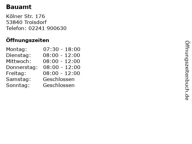 Bauamt in Troisdorf: Adresse und Öffnungszeiten