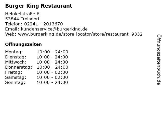 Burger King Restaurant in Troisdorf: Adresse und Öffnungszeiten