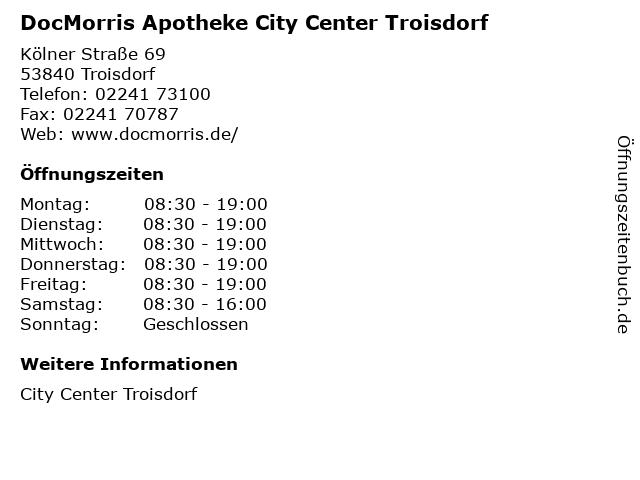 DocMorris Apotheke City Center Troisdorf in Troisdorf: Adresse und Öffnungszeiten