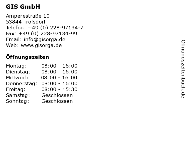 GIS GmbH in Troisdorf: Adresse und Öffnungszeiten