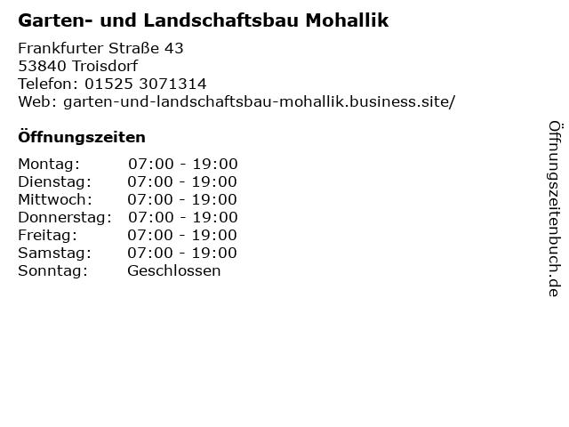 Garten- und Landschaftsbau Mohallik in Troisdorf: Adresse und Öffnungszeiten