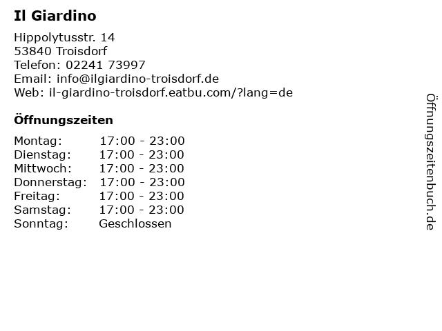 Ristorante Il Giardino in Troisdorf: Adresse und Öffnungszeiten