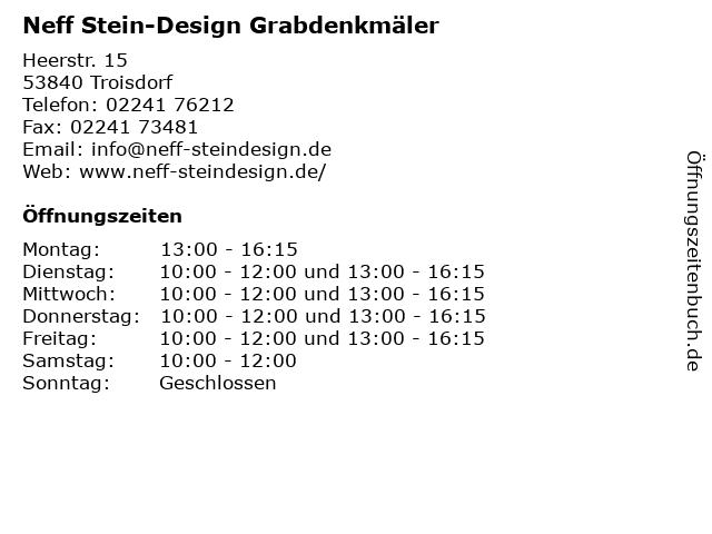 Neff Stein-Design Grabdenkmäler in Troisdorf: Adresse und Öffnungszeiten