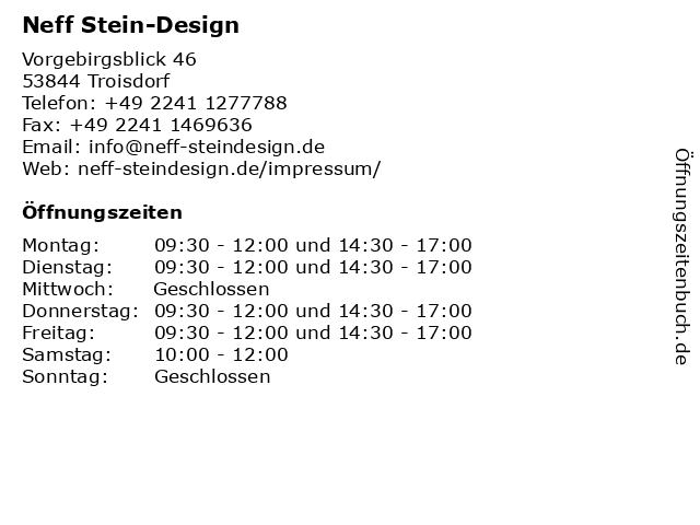Neff Stein-Design in Troisdorf: Adresse und Öffnungszeiten