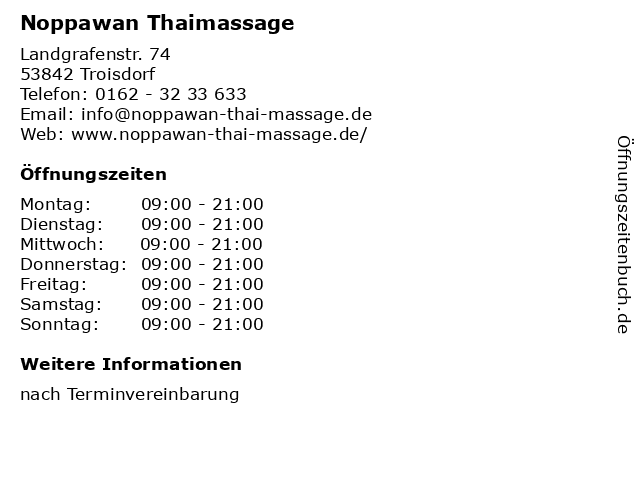 Noppawan Thaimassage in Troisdorf: Adresse und Öffnungszeiten