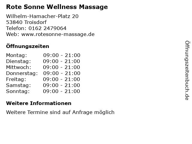 Rote Sonne Wellness Massage in Troisdorf: Adresse und Öffnungszeiten