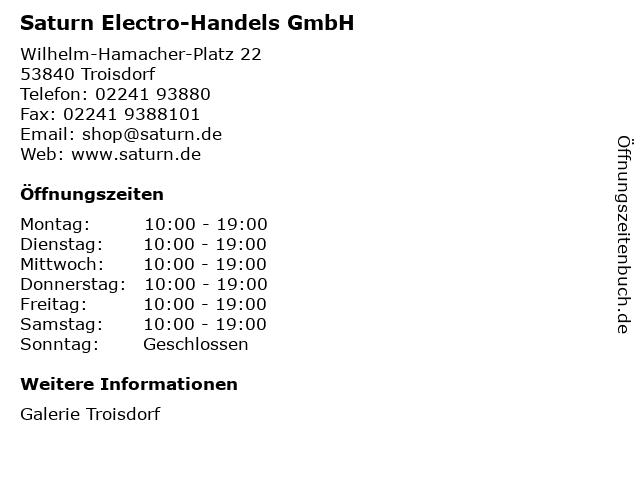 Saturn Electro-Handels GmbH in Troisdorf: Adresse und Öffnungszeiten