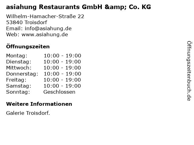 asiahung Restaurants GmbH & Co. KG in Troisdorf: Adresse und Öffnungszeiten