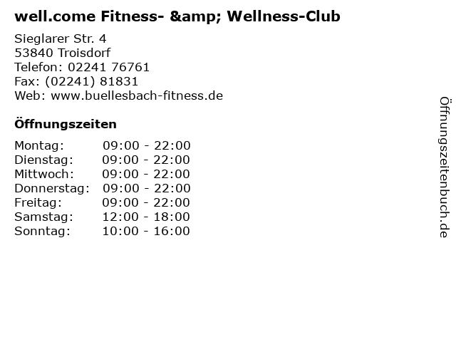 well.come Fitness- & Wellness-Club in Troisdorf: Adresse und Öffnungszeiten