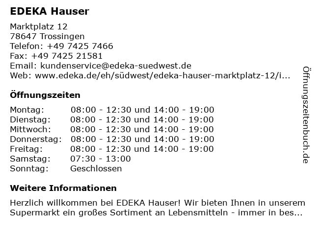 EDEKA Hauser in Trossingen: Adresse und Öffnungszeiten