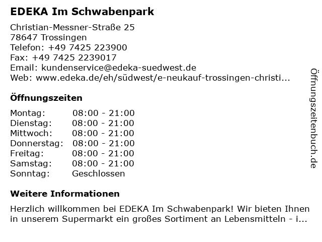 EDEKA Trossingen in Trossingen: Adresse und Öffnungszeiten