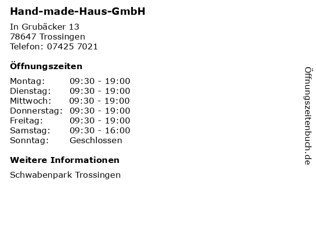 Hand-made-Haus-GmbH in Trossingen: Adresse und Öffnungszeiten