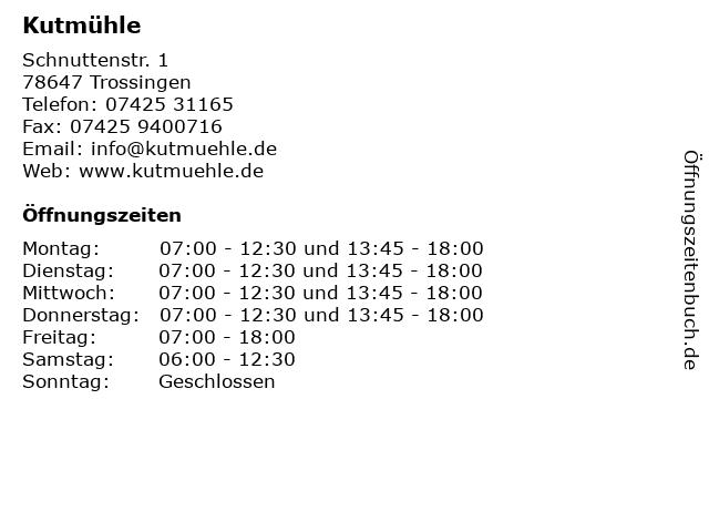 Kutmühle in Trossingen: Adresse und Öffnungszeiten