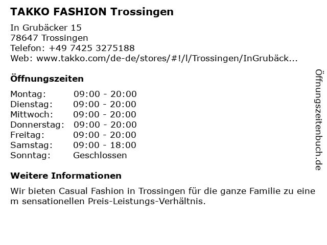 Takko Fashion in Trossingen: Adresse und Öffnungszeiten