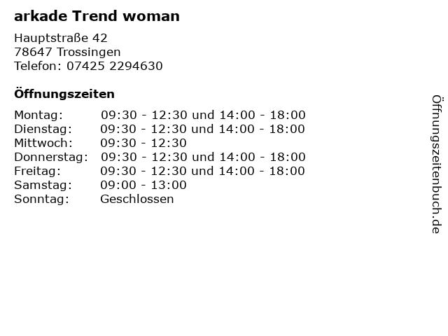 arkade Trend woman in Trossingen: Adresse und Öffnungszeiten