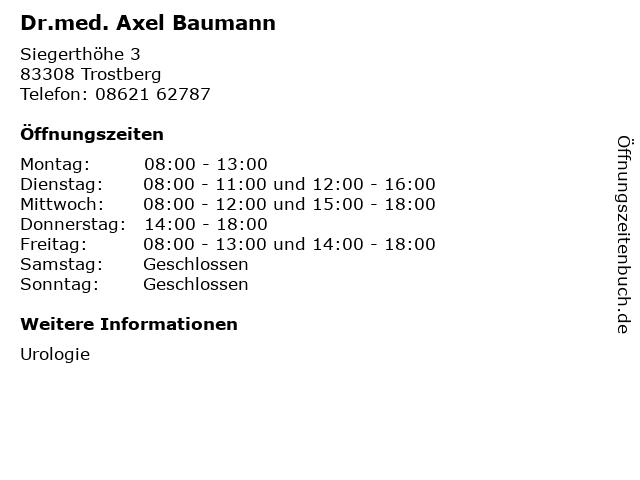 Dr.med. Axel Baumann in Trostberg: Adresse und Öffnungszeiten