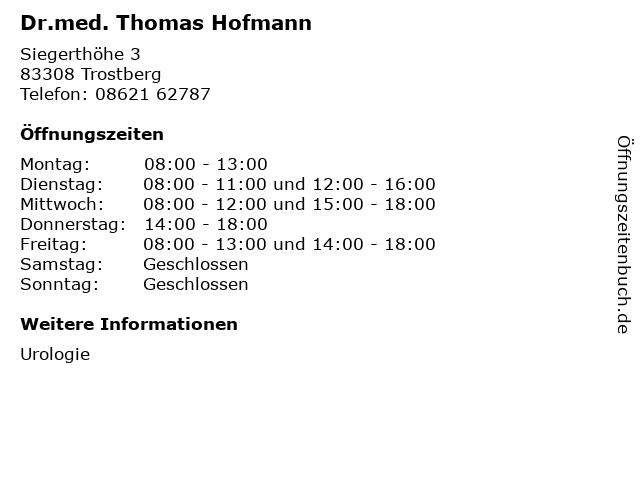 Dr.med. Thomas Hofmann in Trostberg: Adresse und Öffnungszeiten